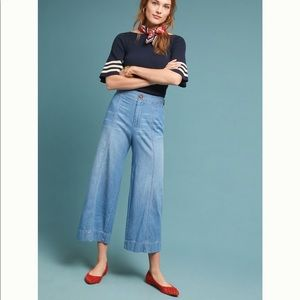 Pilcro Ultra High Rise Cropped Wide Leg Jeans